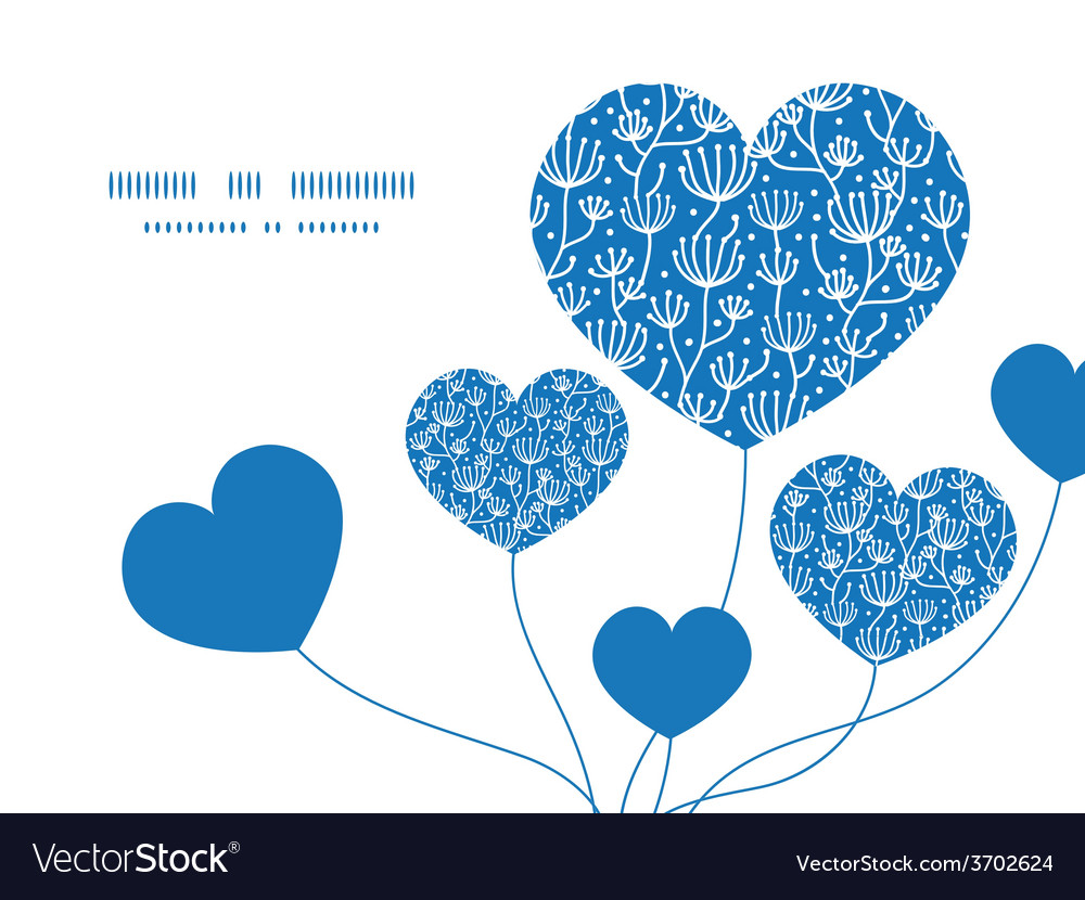 Blue white lineart plants heart symbol vector