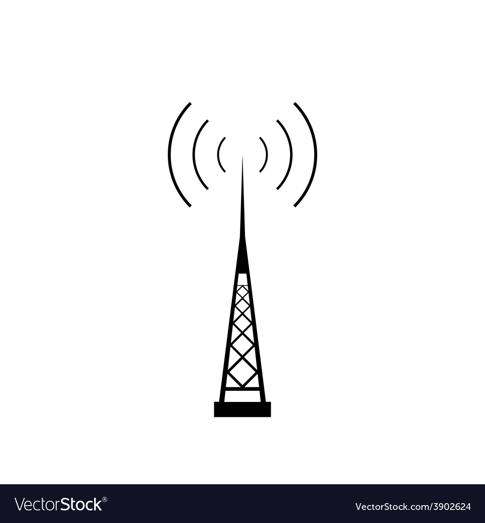 Broadcasting antenna icon vector