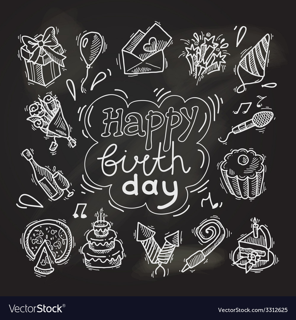 Birthday sketch chalkboard vector
