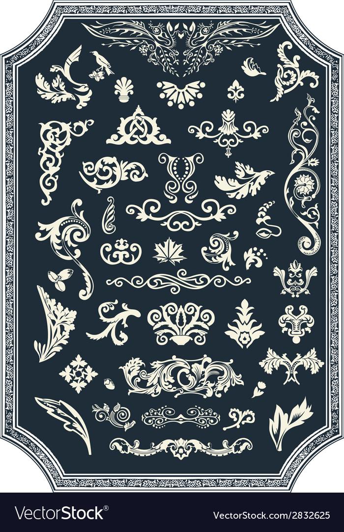 Set of floral elements for design vintage ornament vector