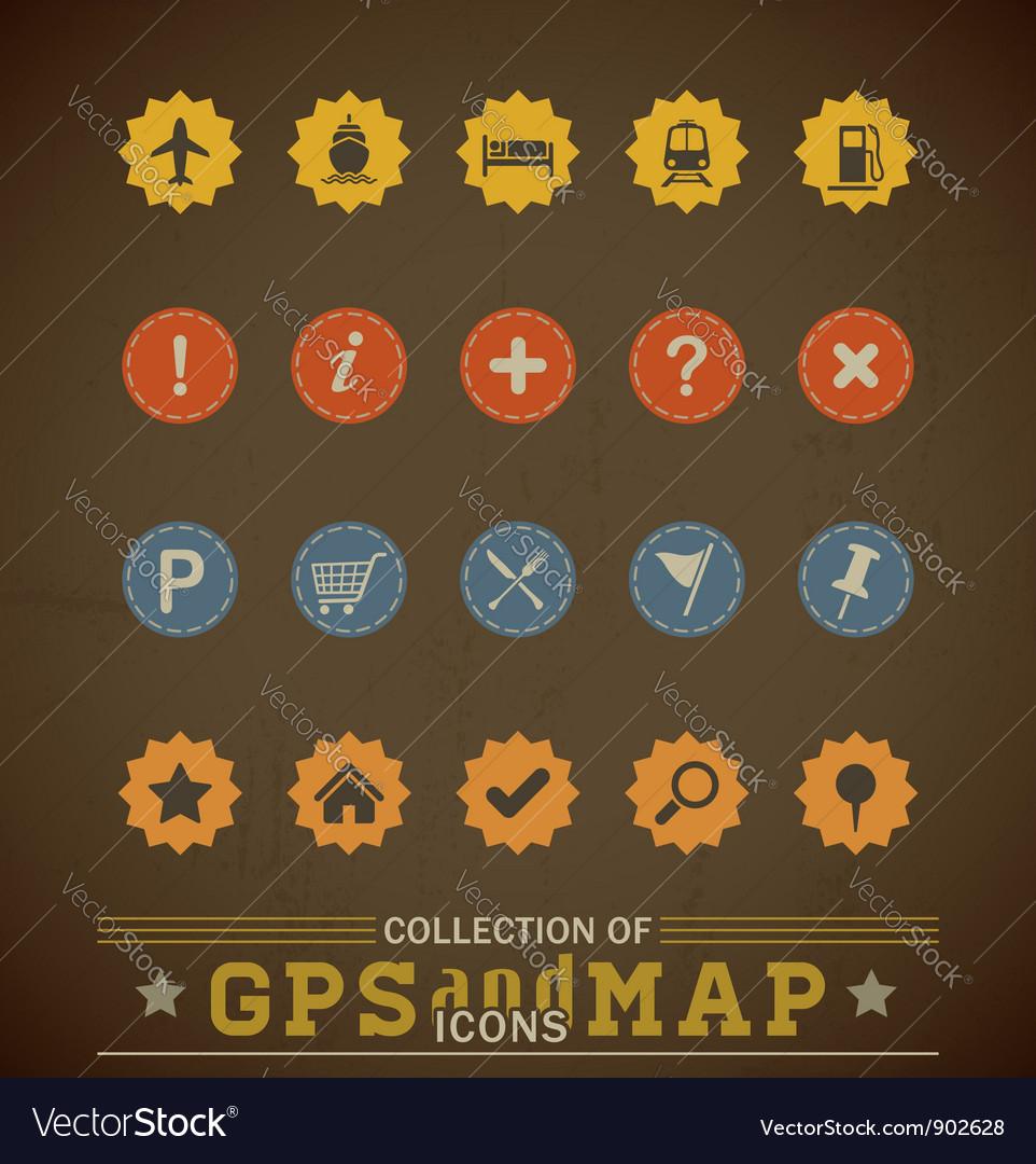 Retro gps icons vector