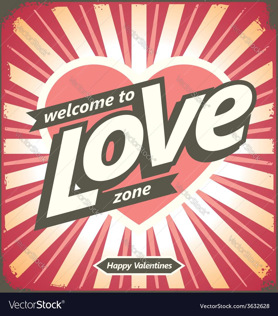 Valentines day vintage tin sign design concept vector