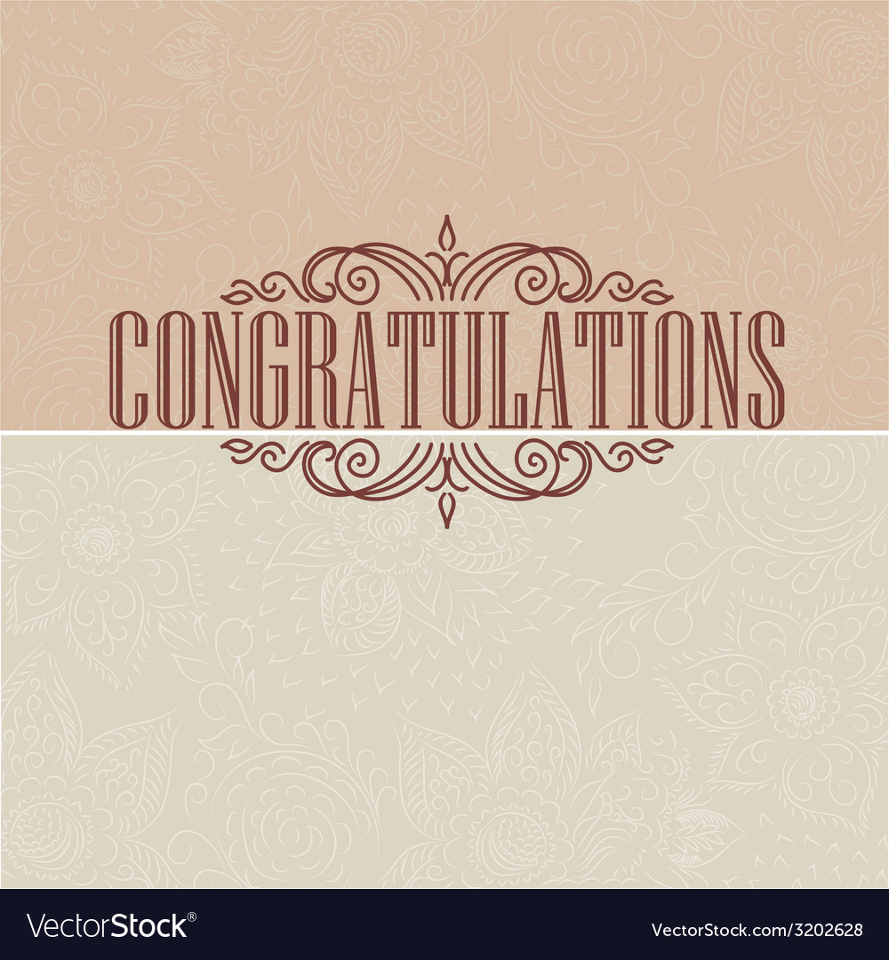 Vintage card congratulations card vector
