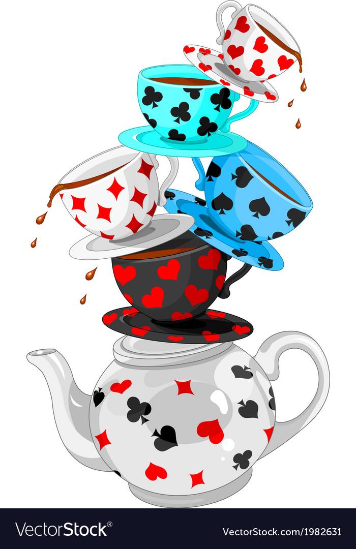 Wonder tea party pyramid vector