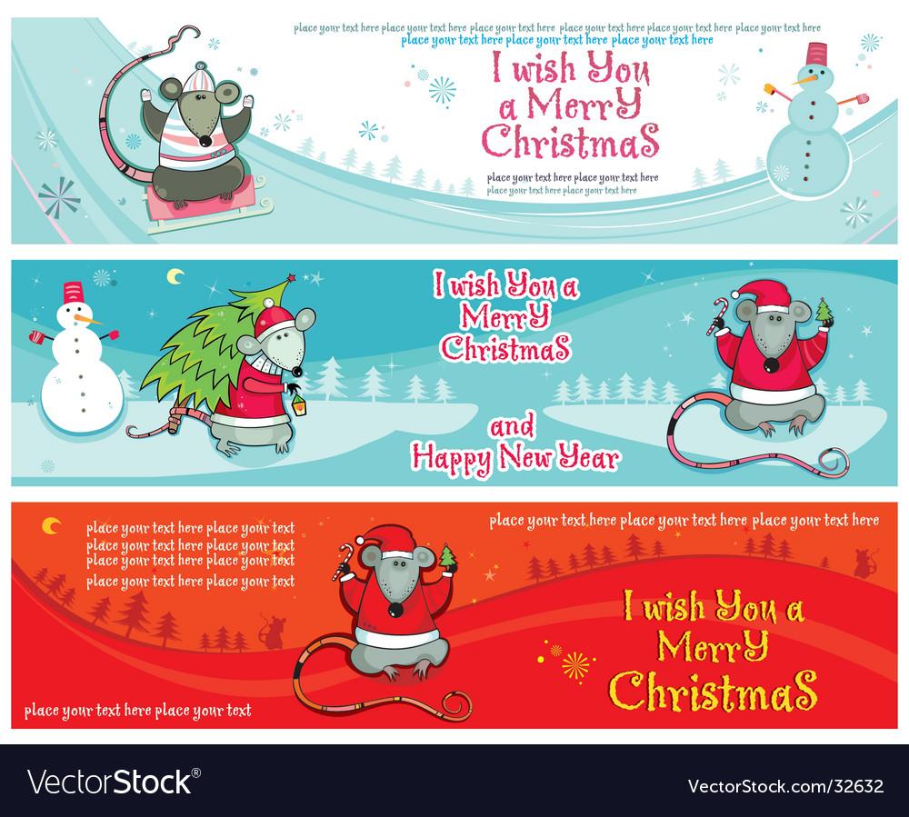 Christmas banners with santa rats vector