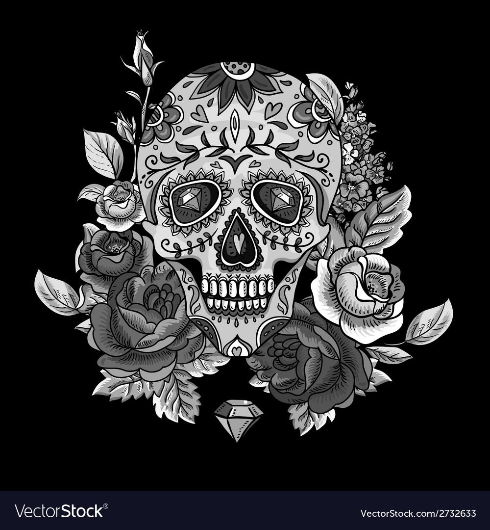 Monochrome skull diamond and flowers card vector