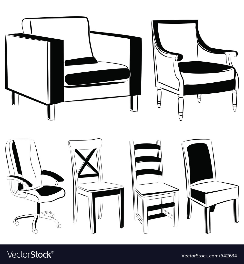 Furniture black version vector