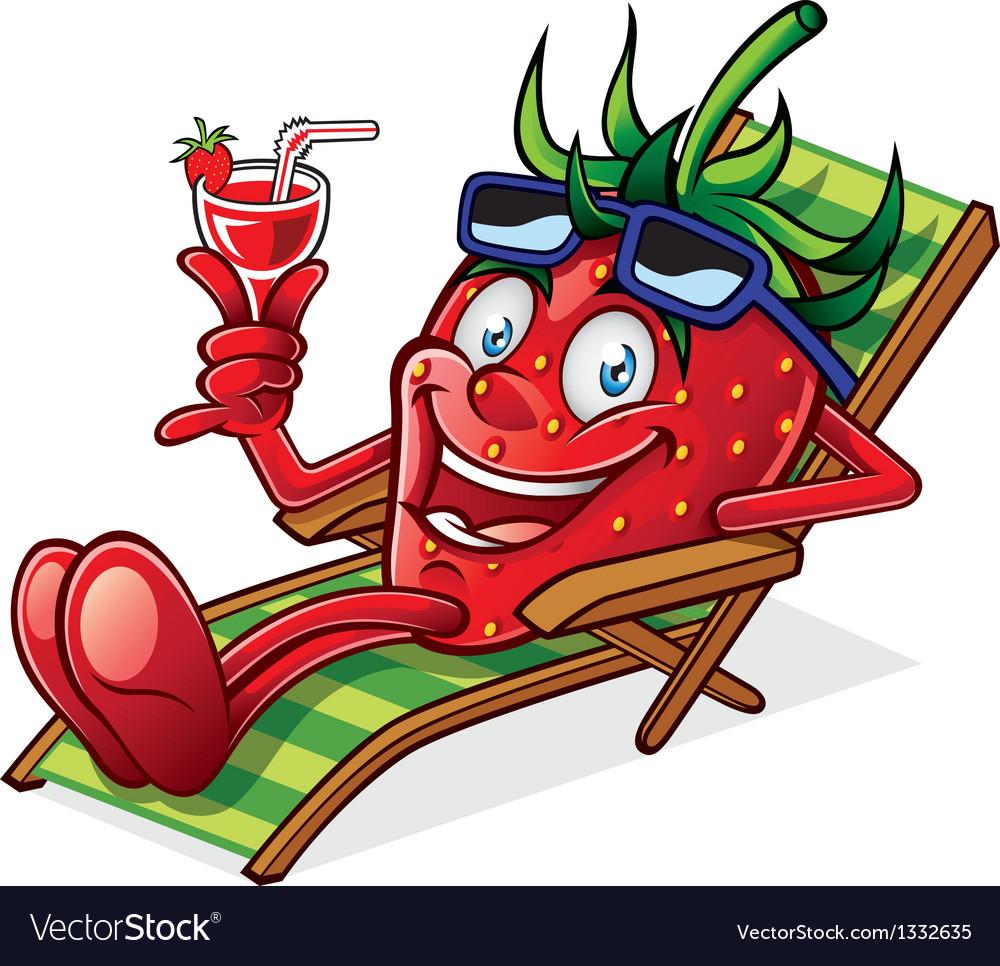 Berry on beach chair vector