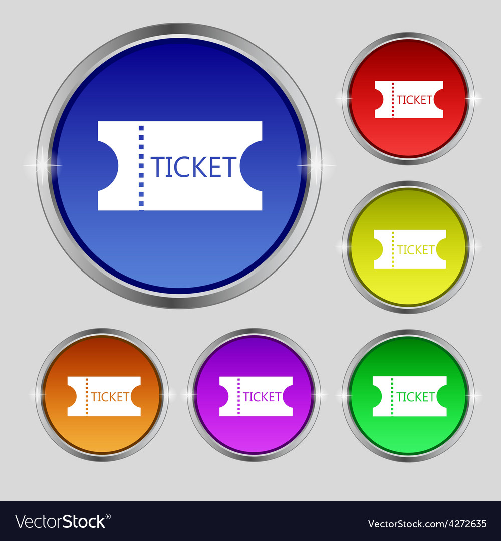 Ticket icon sign round symbol on bright colourful vector