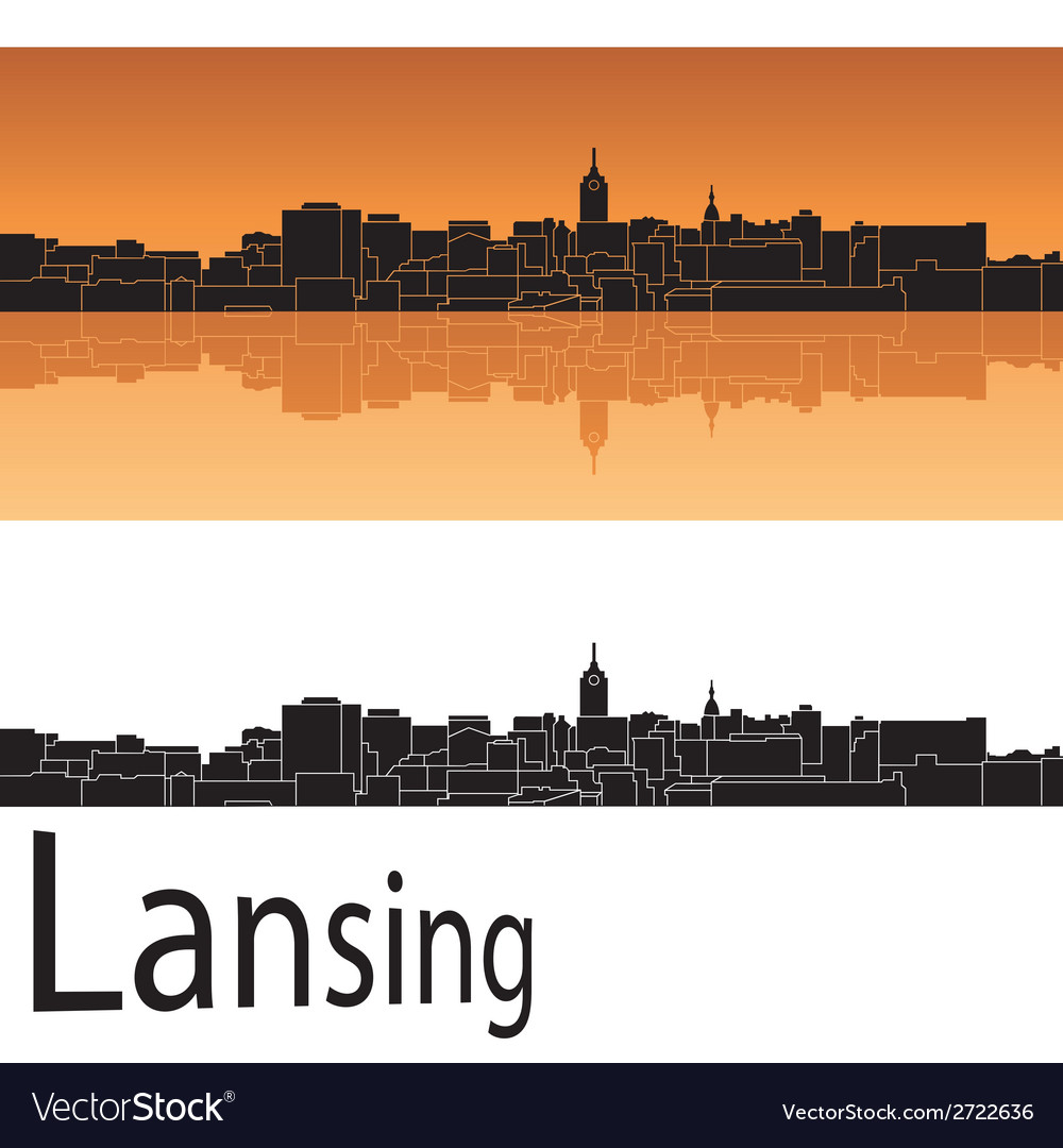 Lansing skyline in orange background vector