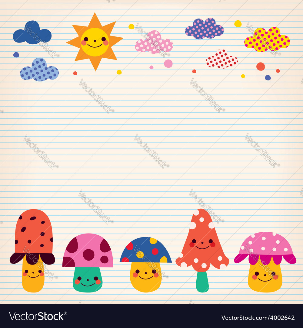 Mushrooms clouds sun nature lined paper background vector