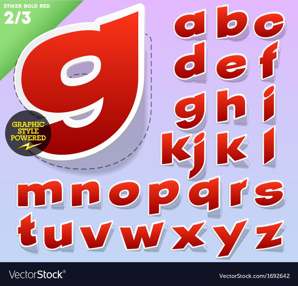 Sticker or label style alphabet vector