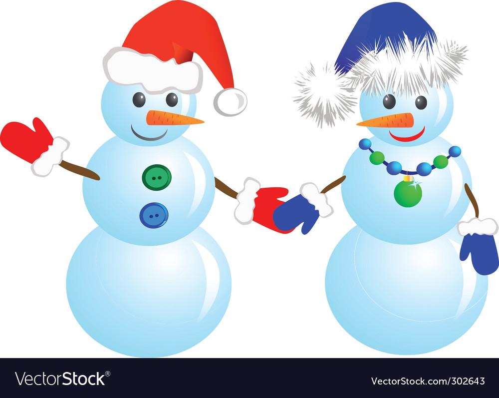 Couple snowmen vector