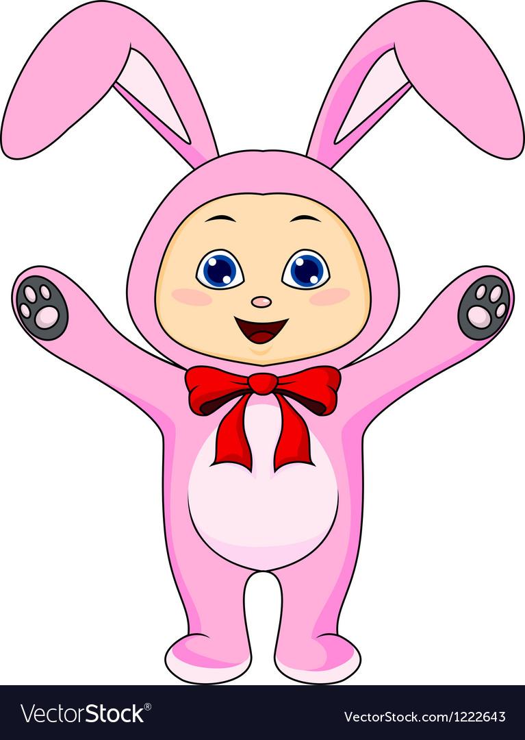 Cute baby in rabbit costume vector