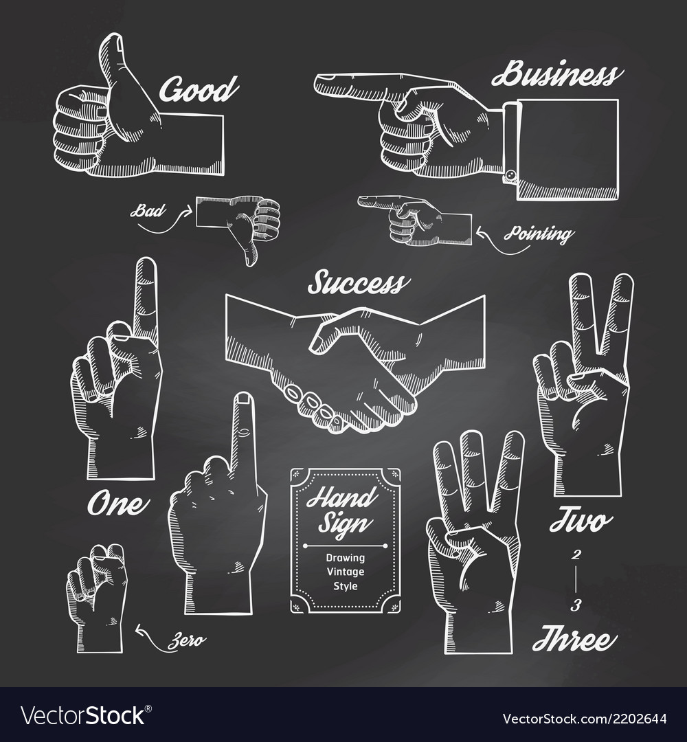 Hand-and-finger-sign-doodle-drawn-on-chalkboard-vector