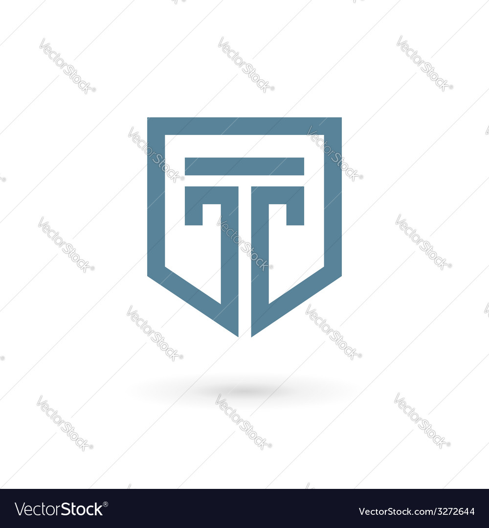 Letter t shield logo icon design template elements vector