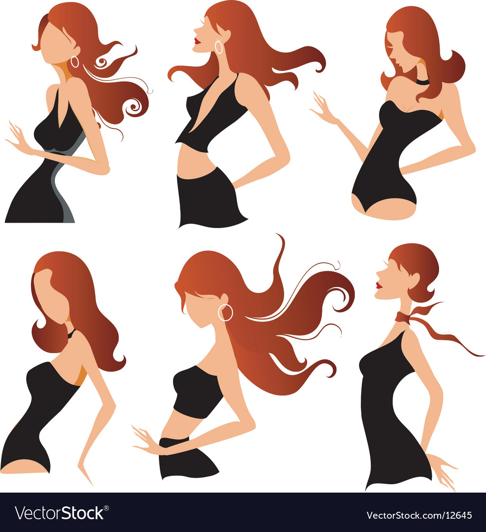 Fashion pose designs vector