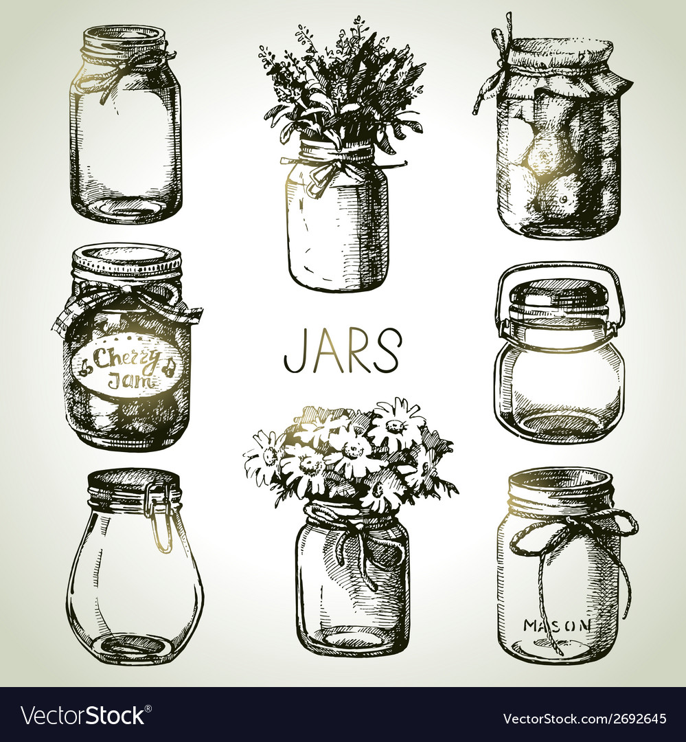 Rustic mason and canning jars hand drawn set vector