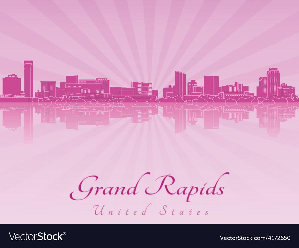 Grand rapids skyline in purple radiant orchid vector