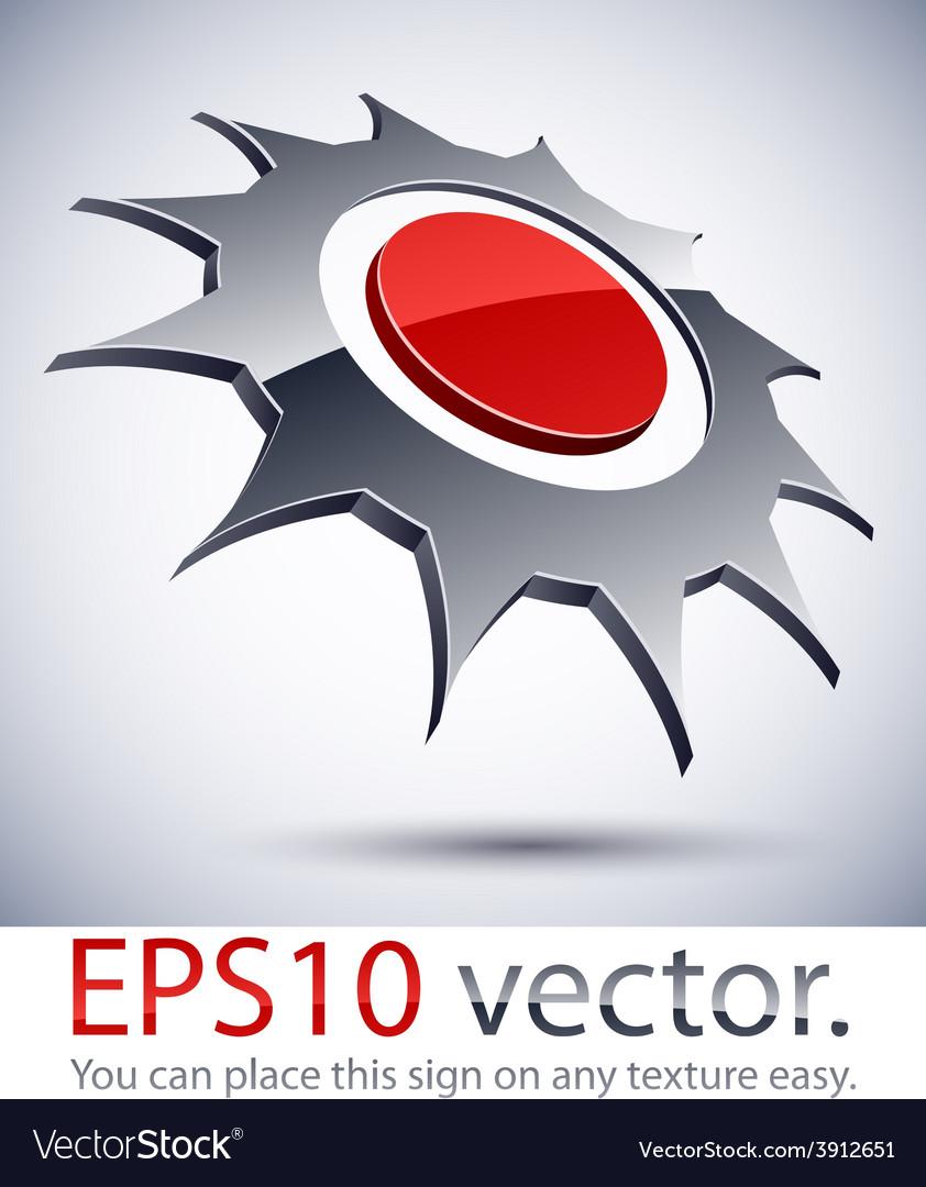 3d modern logo sun icon vector