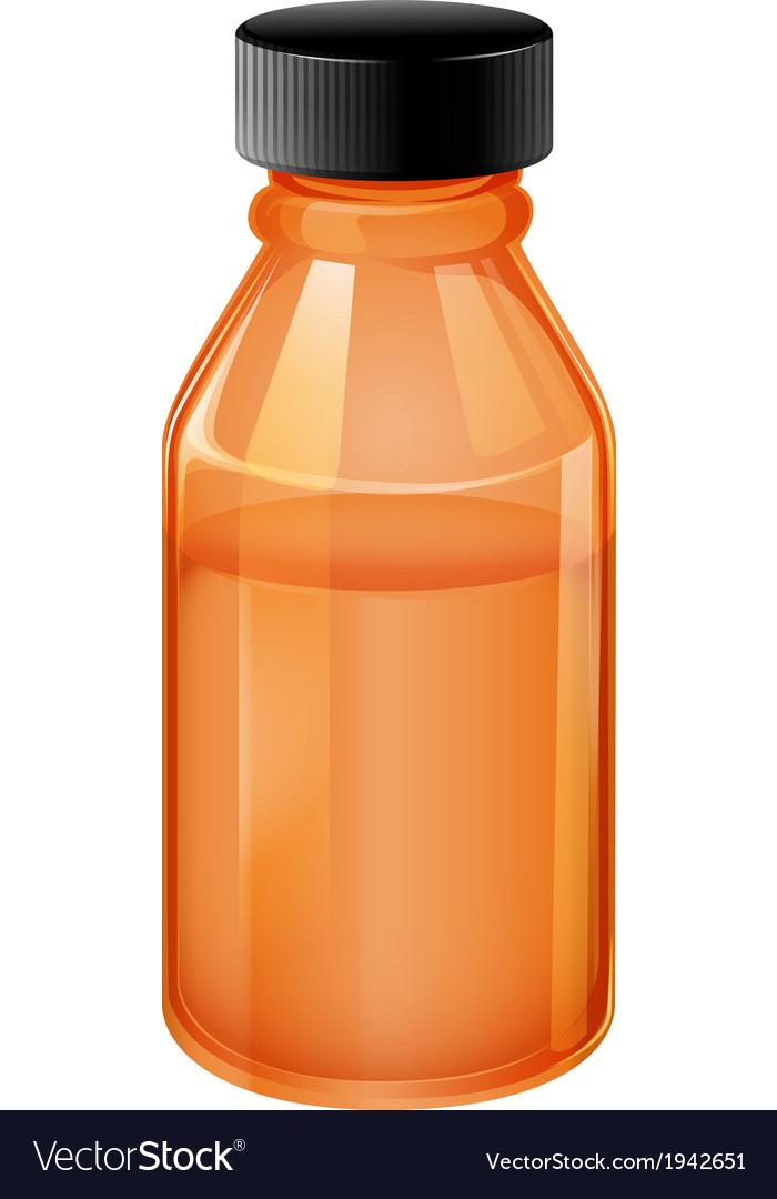 A medical bottle with black lid vector