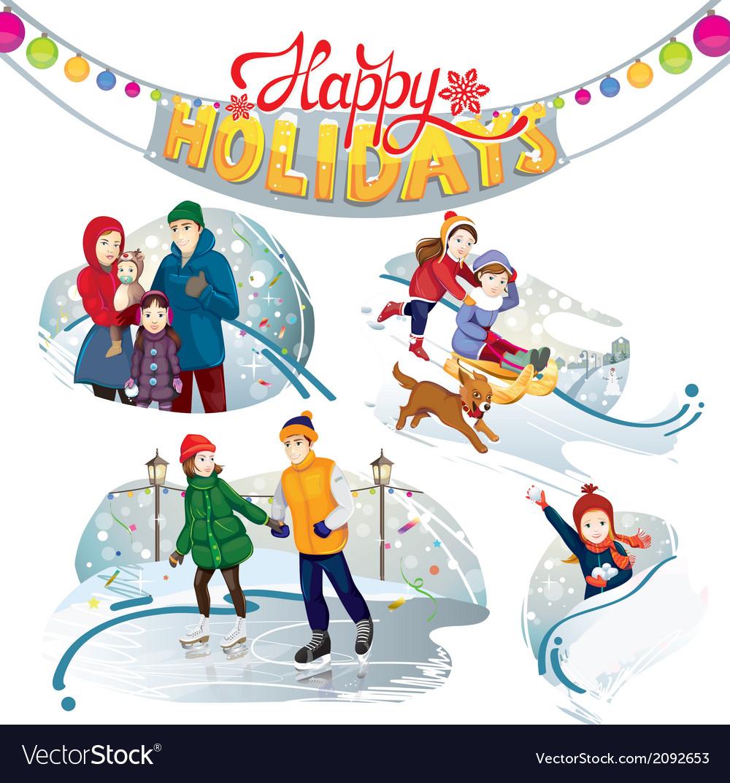 Happy holidays set vector