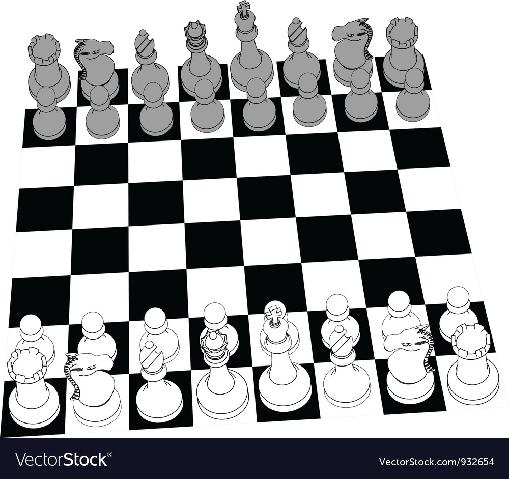 Chess set game pieces line drawing 3d vector