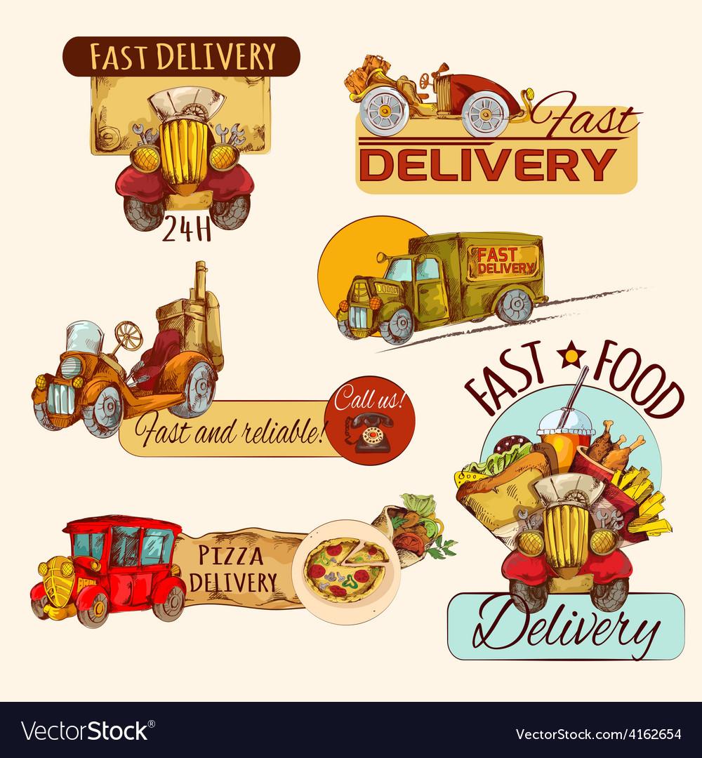 Delivery emblems set vector
