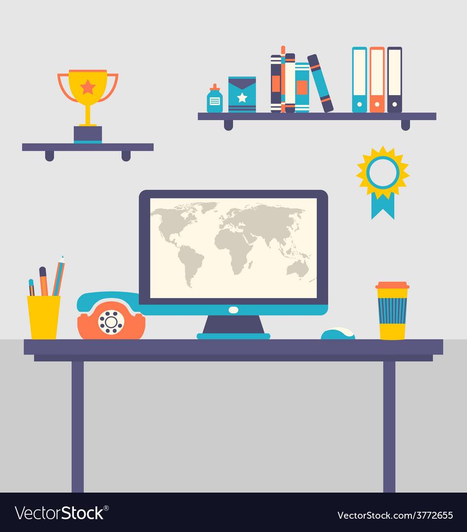 Flat design of office workspace creative worker - vector