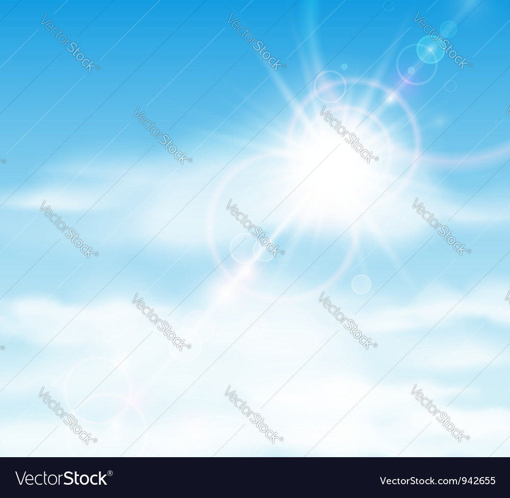 Sun is shining behind the clouds vector