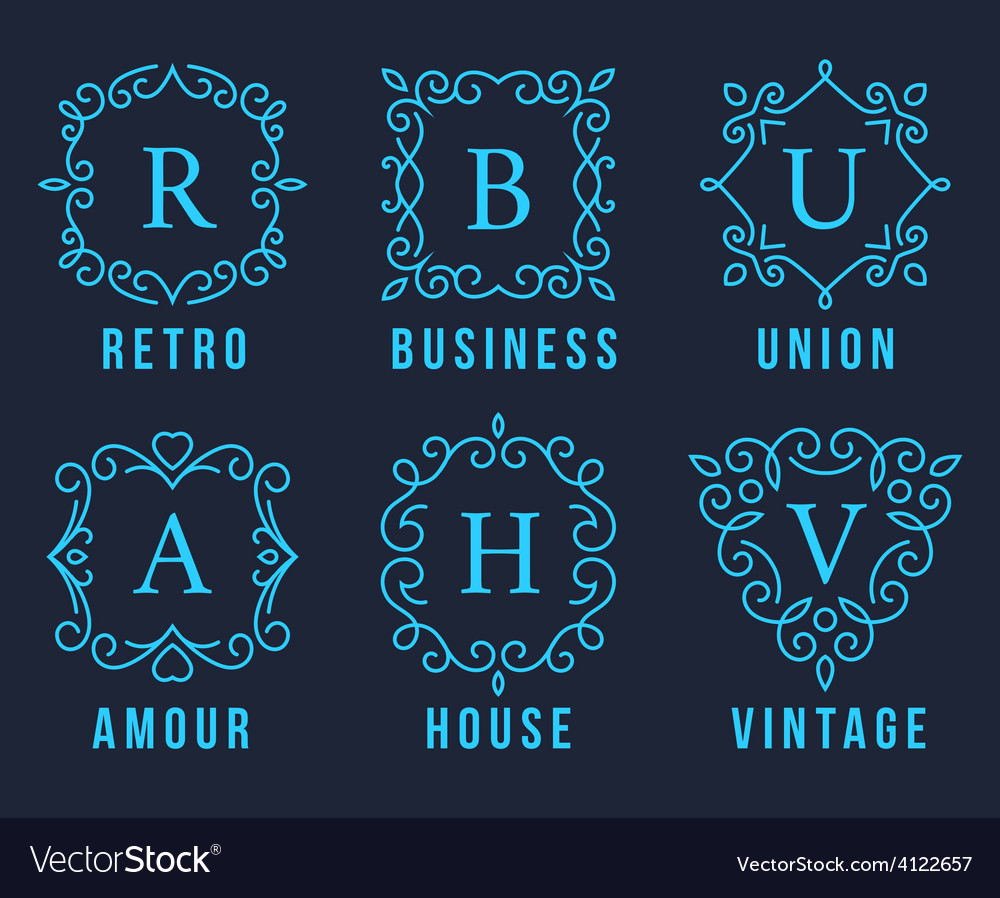 Light blue monogram logos set vector