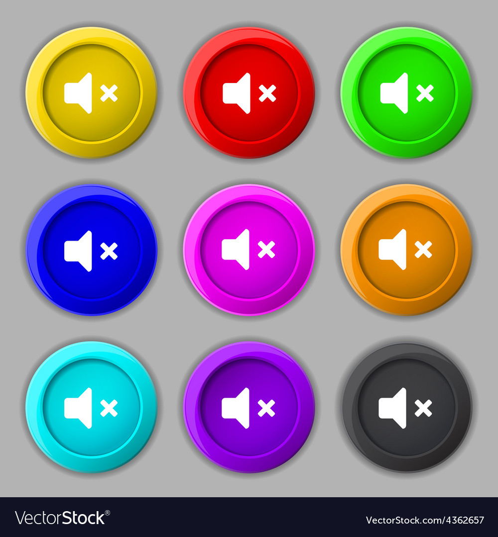 Mute speaker sound icon sign symbol on nine round vector