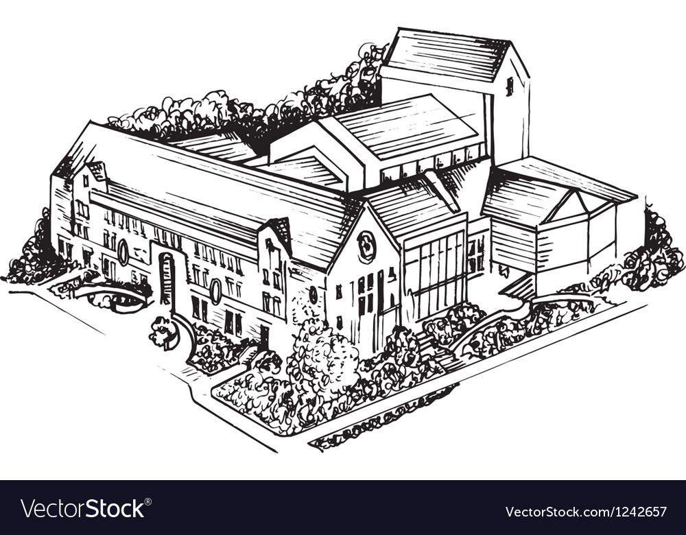 Old university sketch vector