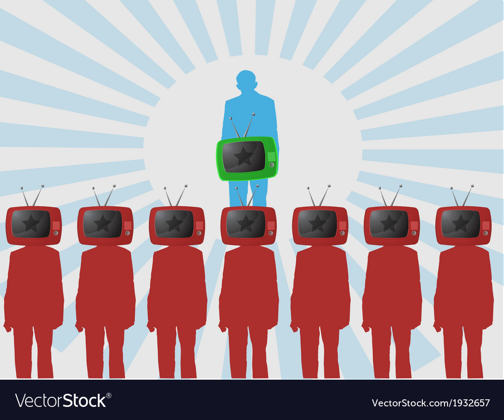 One person is watching tv background vector