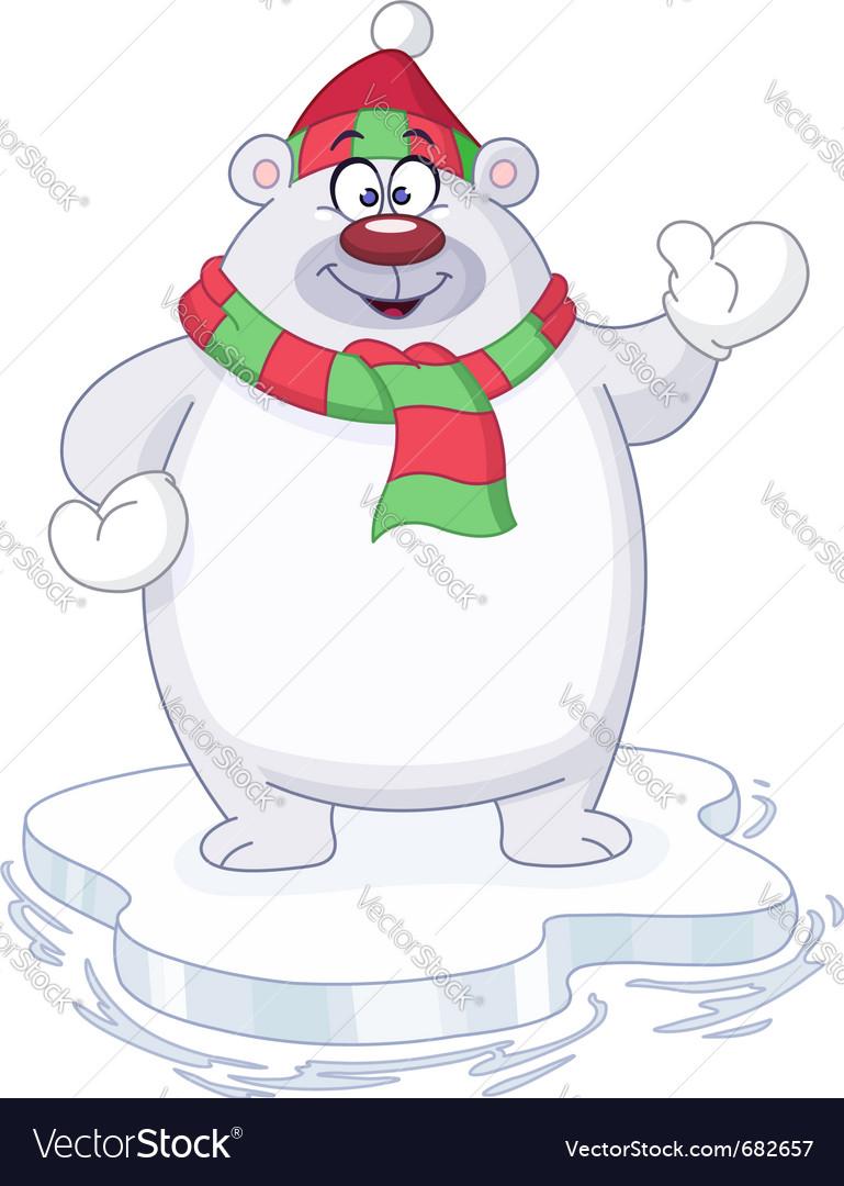 Winter polar bear vector