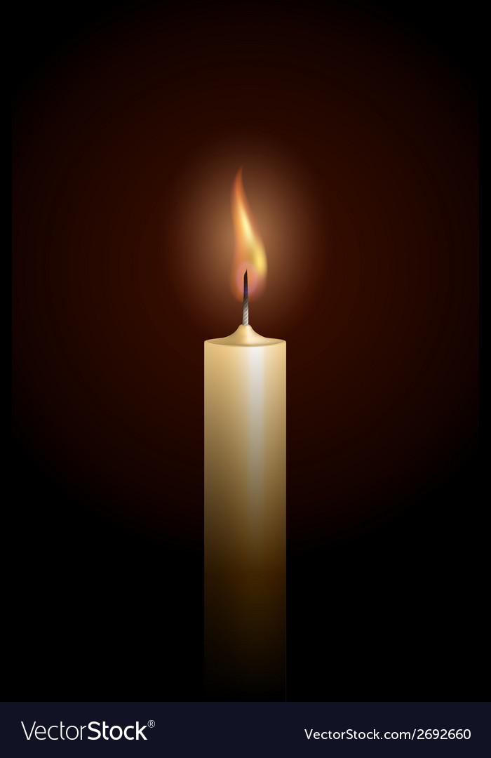 Burning candle on black background vector