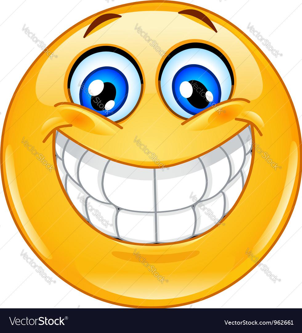 Big smile emoticon vector