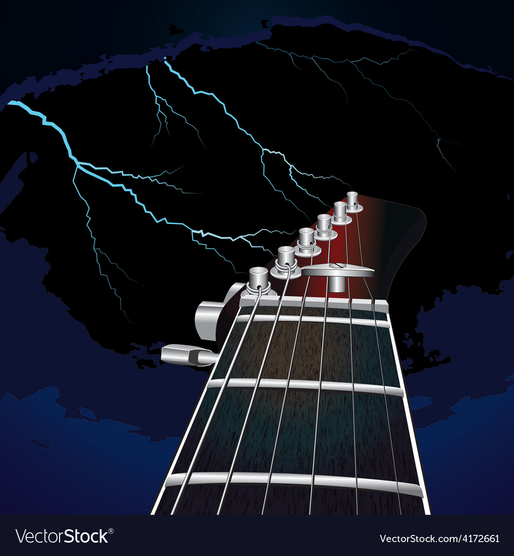 Guitar on a background of the sky with lightning vector
