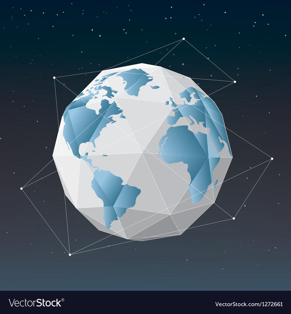 White earth globe geometrical background vector