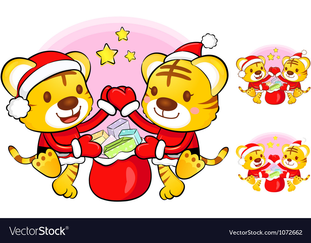 Santa claus and rudolph mascot the event activity vector