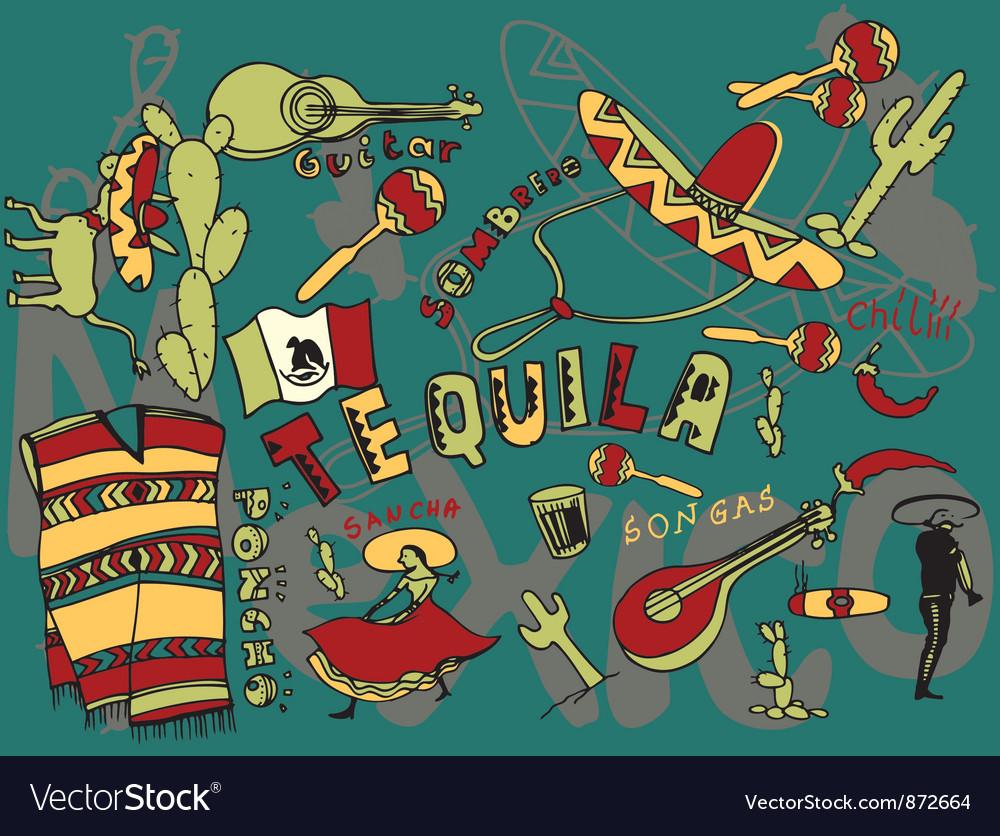 Mexico doodles vector