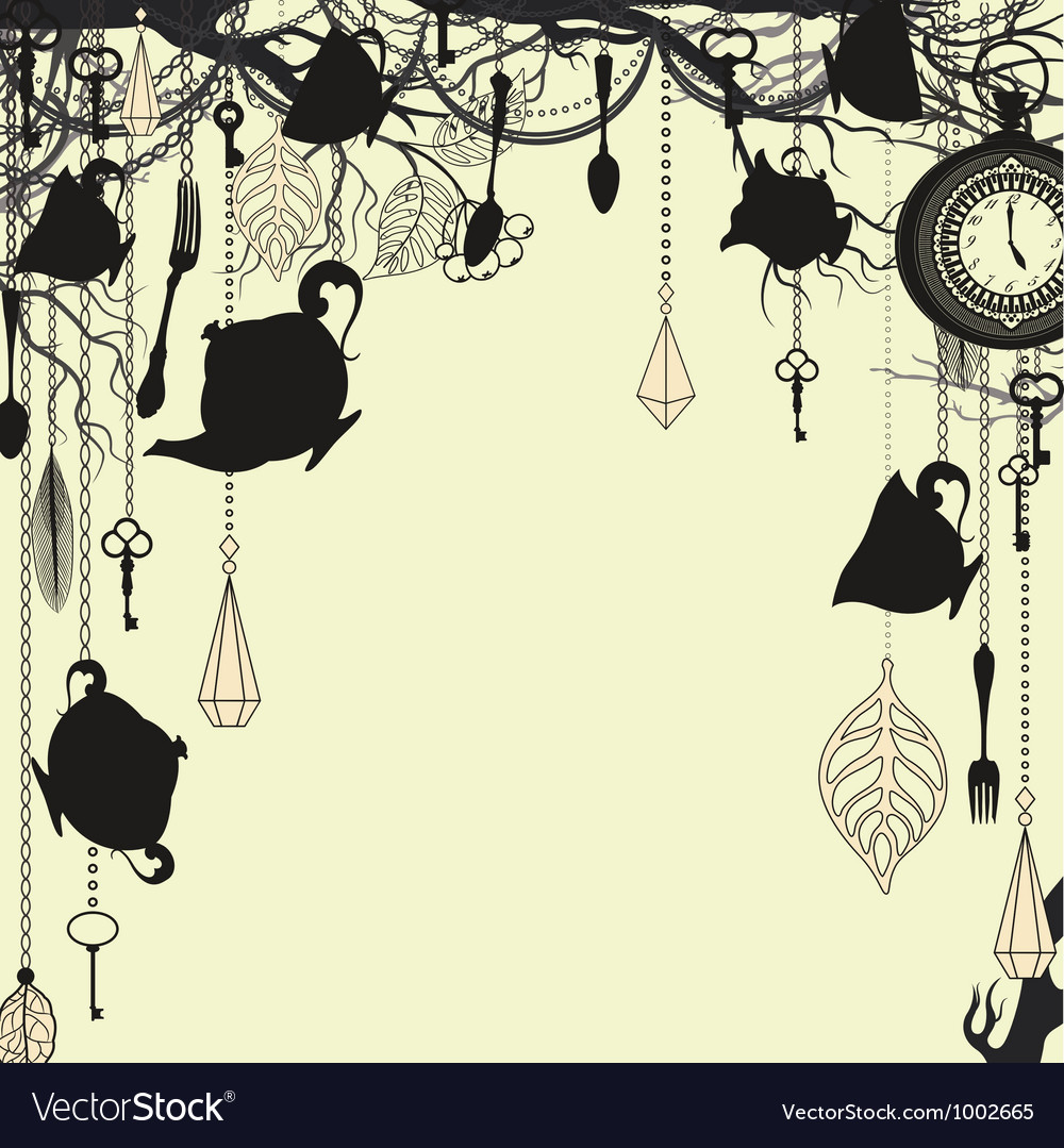 Antique background with tea party theme vector