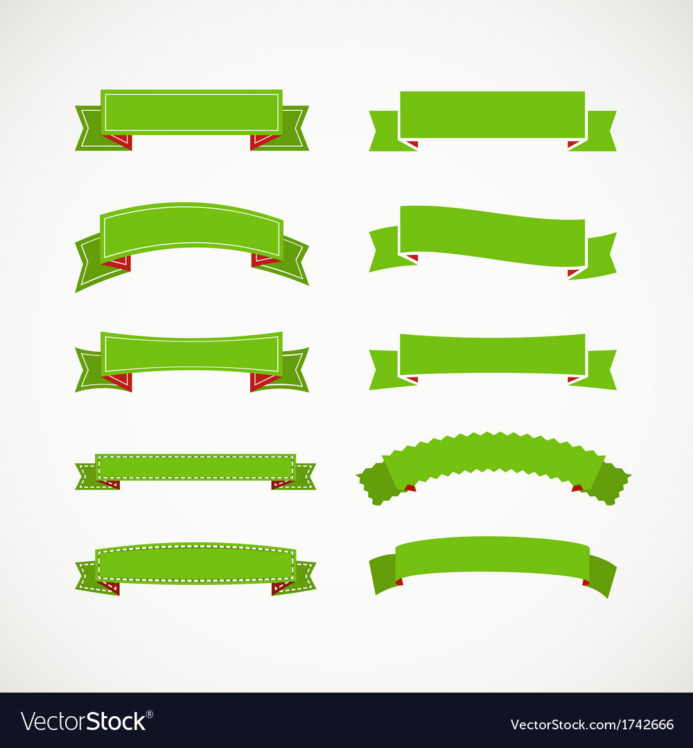 Different retro style green ribbons vector