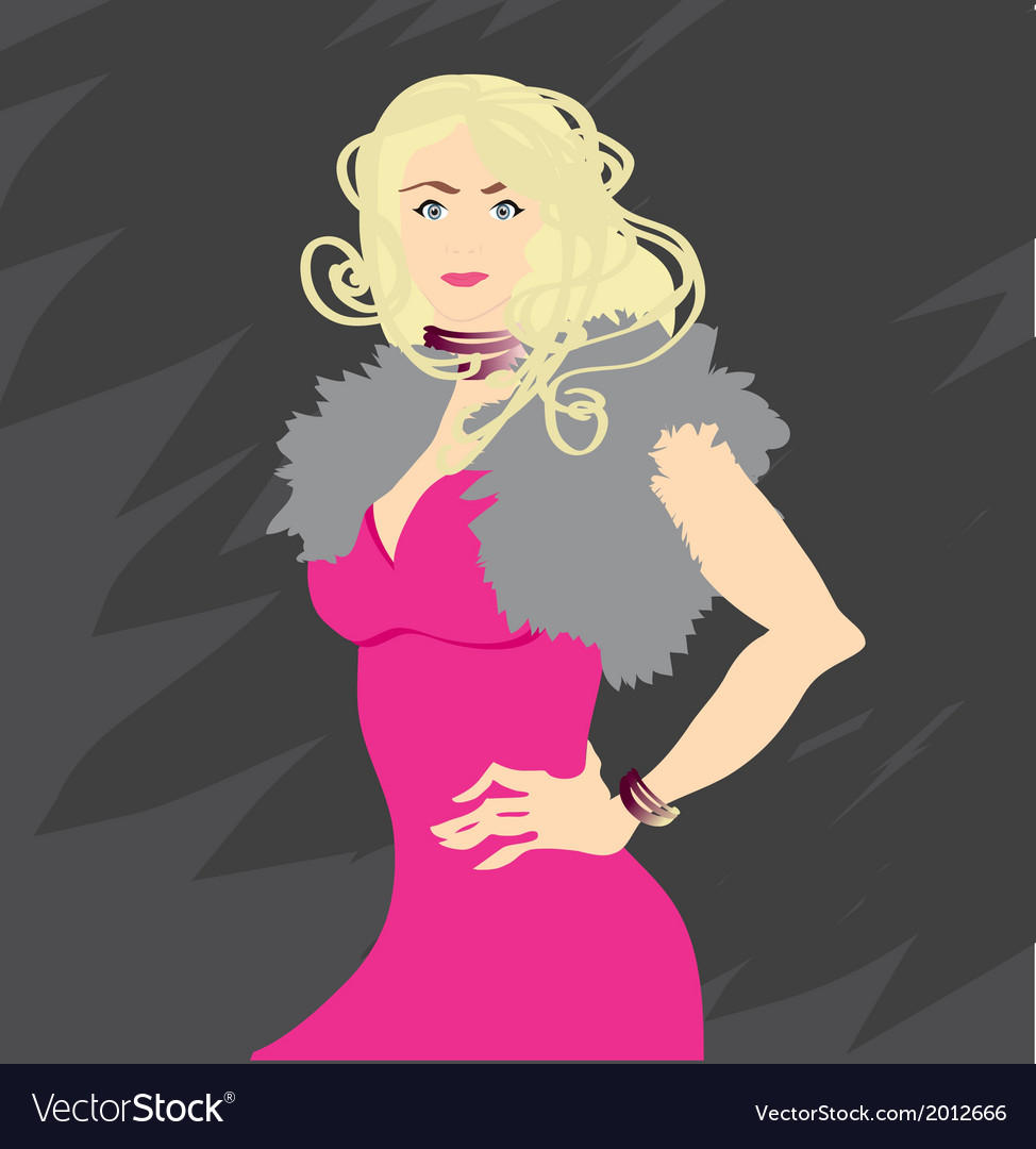 Fashion model in a pink dress vector