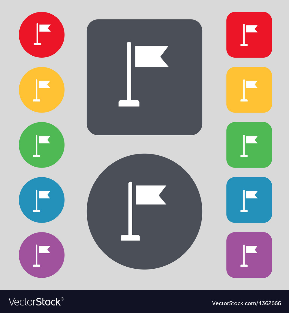 Flag icon sign a set of 12 colored buttons flat vector