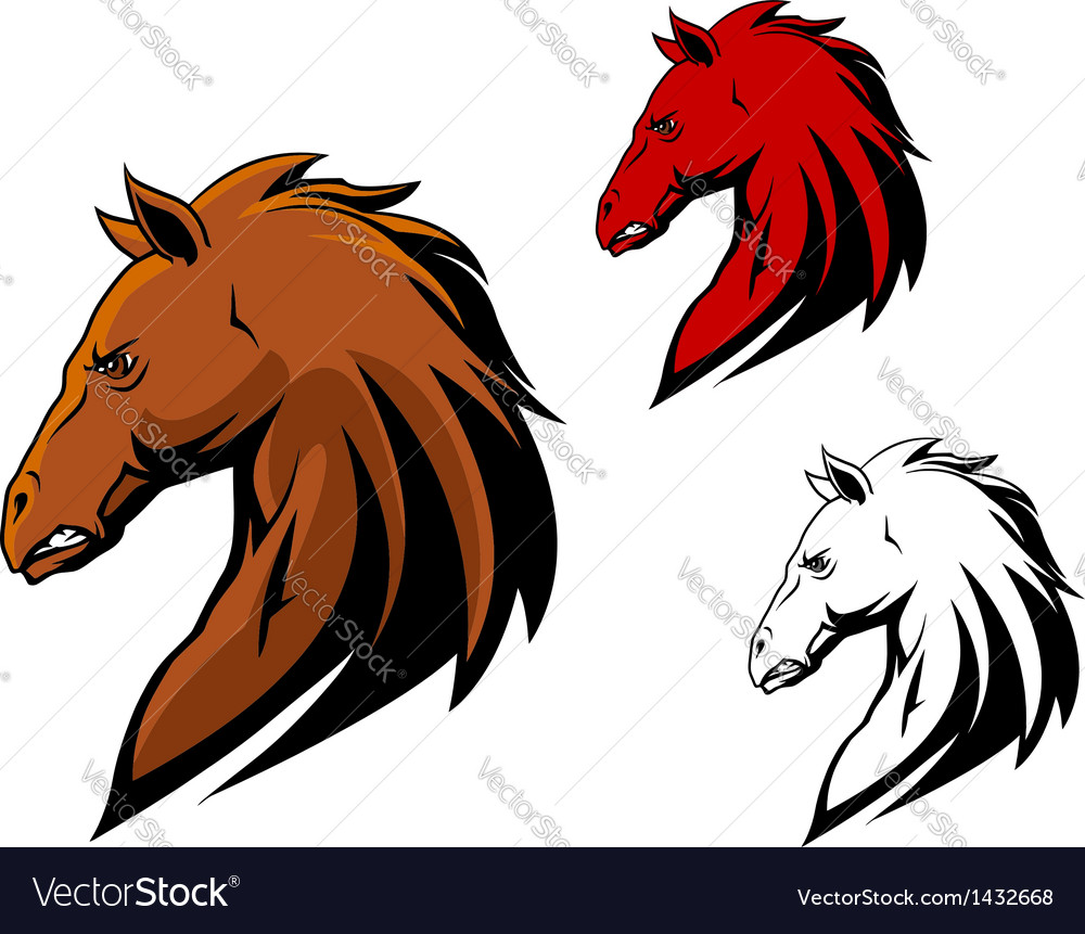 Angry stallion mascot vector