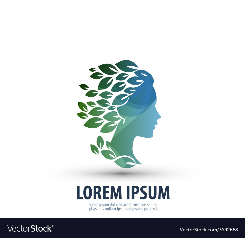 Beautiful girl with hair in the form of leaves vector