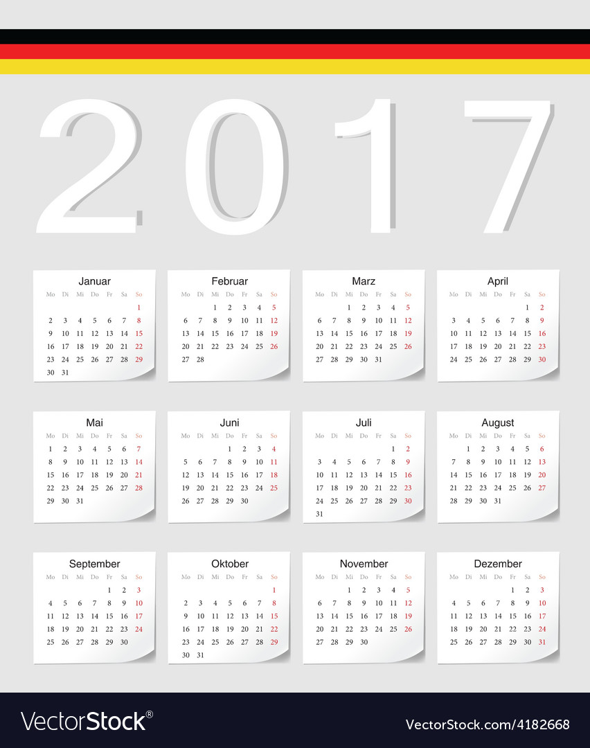 German 2017 calendar with shadow angles vector