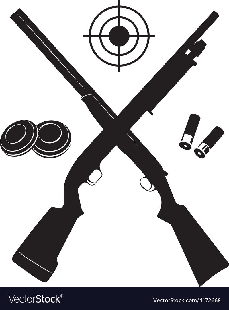 Target with two shotguns and ammunition and vector