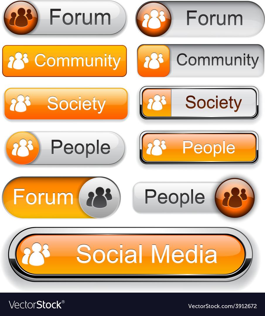 Forum high-detailed modern buttons vector